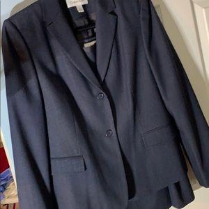 Calvin Klein wool blend blue suit. Size 8
